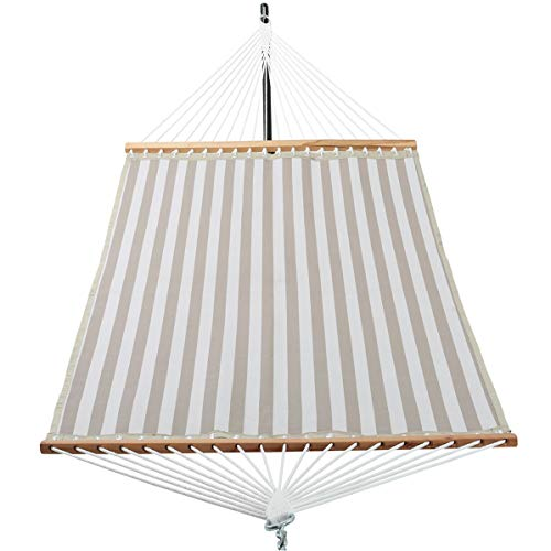 Patio Watcher 14 FT Quick Dry Hammock with Double Size Solid Wood Spreader Bar Outdoor Patio Yard Poolside Hammock with Chains, Waterproof and UV Resistance, 2 Person 450 Pound Capacity ()