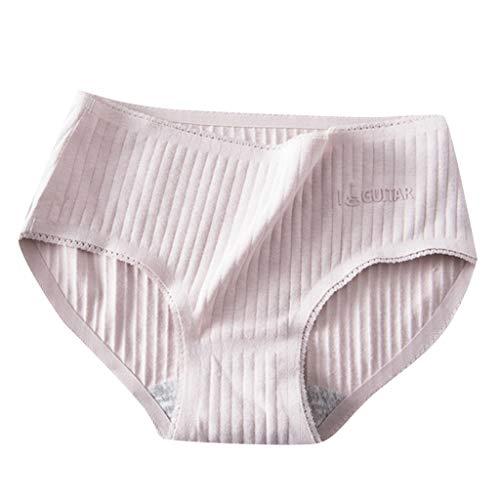 (Nihewoo Women's Cotton Stretch Bikini Panties Mid Waist Briefs Comfort Rib Underwear Ladies Underpants Intimates Purple)