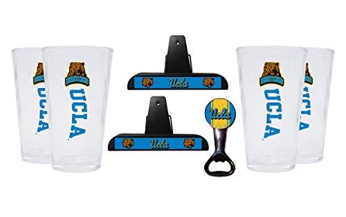 UCLA Bruins Kitchen Pack Set of 2 Chip Clips, 4 Pint Glasses & Magnetic Bottle Opener