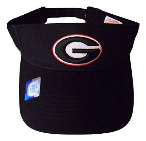 Georgia Bulldogs Adjustable Logo Visor, Choose Your Team Color (Black) ()