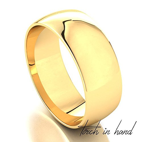 Men's 14k Solid Yellow Gold 7mm Wedding Band by Torch In Hand