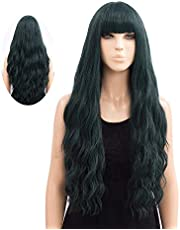 Netgo Wigs for Women, Long Wavy Heat Resistant Fiber Wigs Side Bangs Cosplay Party Daily Use