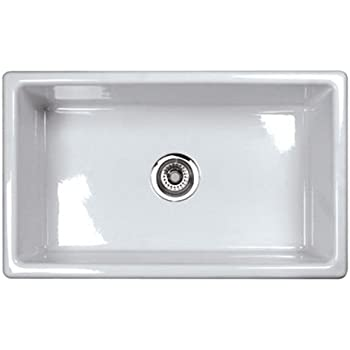 Rohl UM3018WH Shaws Classic 30 Inch Single Bowl Modern Undermount Fireclay  Kitchen Sink, White