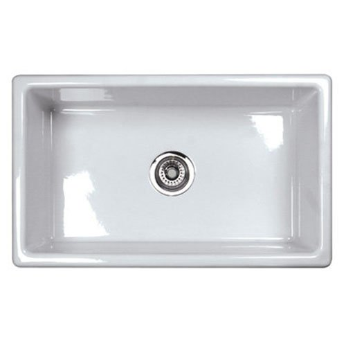 Rohl UM3018WH Shaws Classic 30-Inch Single Bowl Modern Undermount Fireclay Kitchen Sink, ()