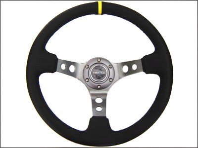 NRG Steering Wheel - 06 (Deep Dish) - 350mm (13.78 inches) - Black Suede with Black Spokes/Yellow Stripe - Part # ST-006S-Y