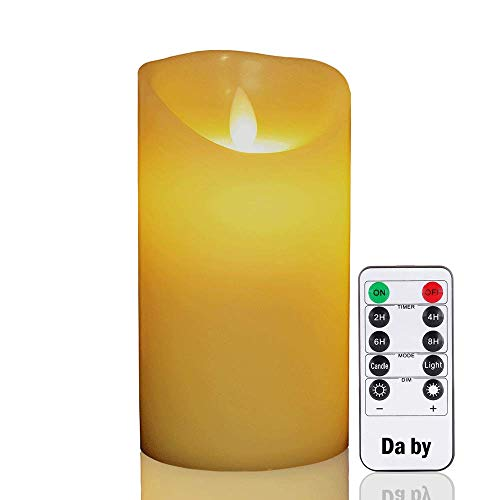 Da by Flameless Candles 6 Inch Realistic Dancing LED Flickering Wick for Parties,Home,Public Elegant Events, Battery Powered, 10-Key Remote Control, Ivory Color