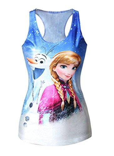 Ensasa Women's Fashion Anna & Olaf Camisole Halter Top Sleeveless T-shirt
