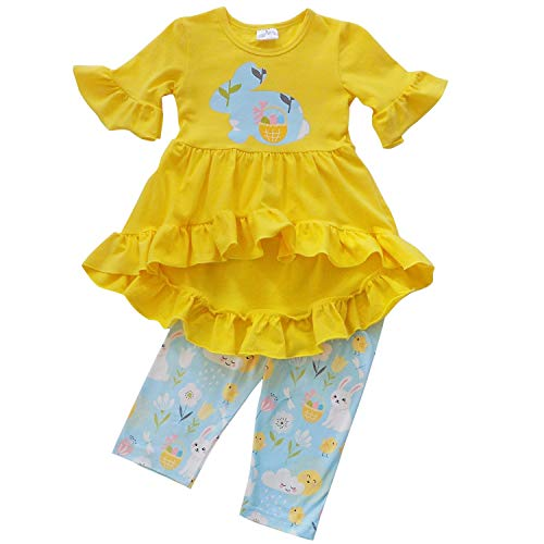 So Sydney Girls Toddler Baby Spring & Easter Romper, 2 Piece, or Boho Lace Ruffle Dress (4T (M), Spring Day Bunny Hi Lo)