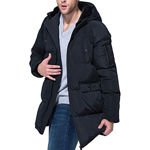 PANLTCY Men's Winter Snow Fur Quilted Hooded Long Ski Down Jacket Puffer Coat (Medium, ()
