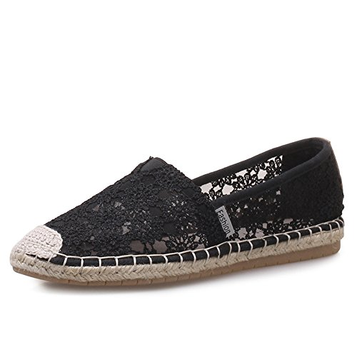 Monrinda Women Flat Lace Espadrilles Breathable Summer Sandals Ladies Flats Loafers Floral Slip On Walking Sneakers Black NExDqIs8s5