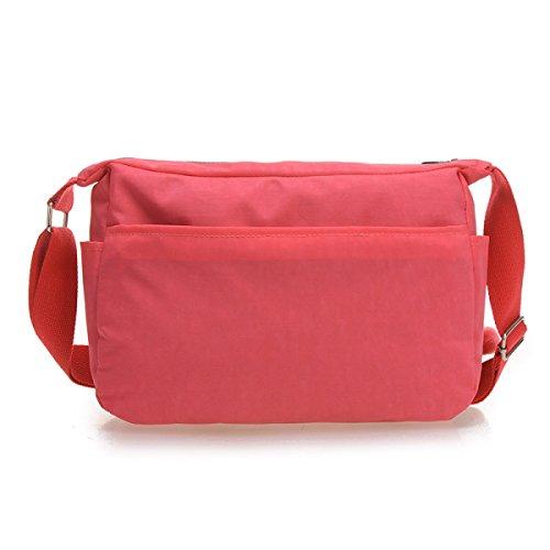 Borsa Da Viaggio Da Donna Vintage In Tela Messenger Con Tracolla Ipad, Rosso-30cm * 10cm * 22cm