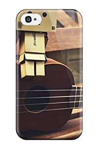 New Style New Arrival Case Cover With Design For Iphone 4/4s- A Guitar With A Small Robot On It