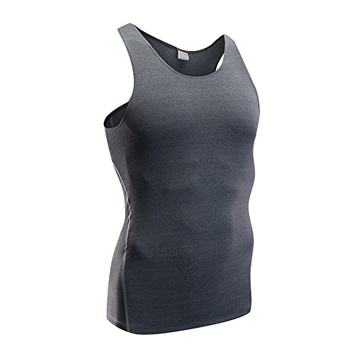 (HuaTu Men Performance Compression Base Layer Dry Fit Tank Tops Vests Sleeveless T-Shirts (XL Chest 39.50-44