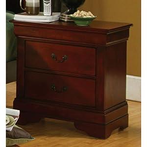 Coaster Fine Furniture 200432 Louis Philippe Style Nightstand Cherry Kitchen Dining
