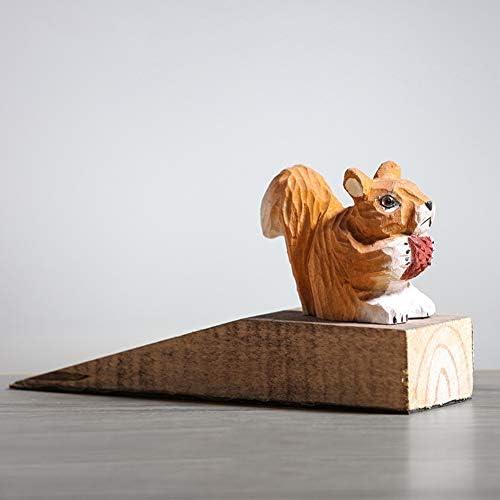クリエイティブソリッドウッドドアストップ、かわいいリス動物の木刻まれたドアストッパー家庭用品装飾