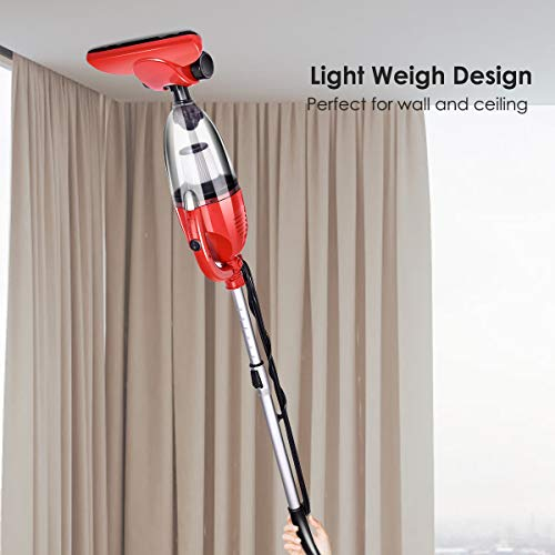 Costway 800W 2-in-1 Vacuum Cleaner Lightweight Corded Upright Stick and Handheld with Filtration (Red)