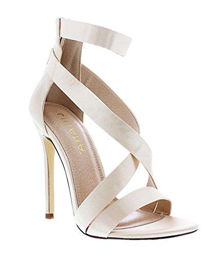 Liliana Criss Cross Satin Strappy Stiletto Heels Tisha-31(Champagne 9) (Gold Braid Heels Shoes)