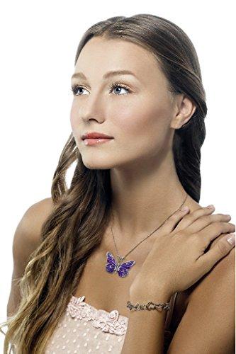 925 Sterling Silver Butterfly Necklace Pendant Purple Polymer Clay Handmade Millefiori Jewelry, 16.5'' by Adina Plastelina Handmade Jewelry (Image #1)