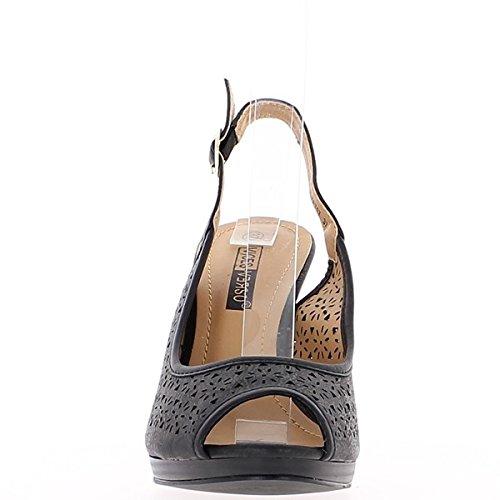 Fini del tacco di 10,5 cm e mini nero piattaforma sandali