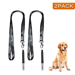 Dog Whistle, Professional Dog Training Whistle to Stop Barking, Adjustable Frequency Ultrasonic Sound Training Tool Dog Bark Control with Free Premium Quality Lanyard - Pack of 2 Black Pet Whistle