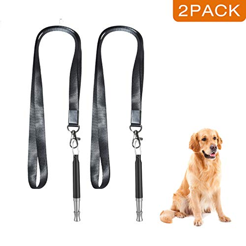 Dog Whistle, Professional Dog Training Whistle to Stop Barking, Adjustable Frequency Ultrasonic Sound Training Tool Dog Bark Control with Free Premium Quality Lanyard - Pack of 2 Black Pet Whistle ()