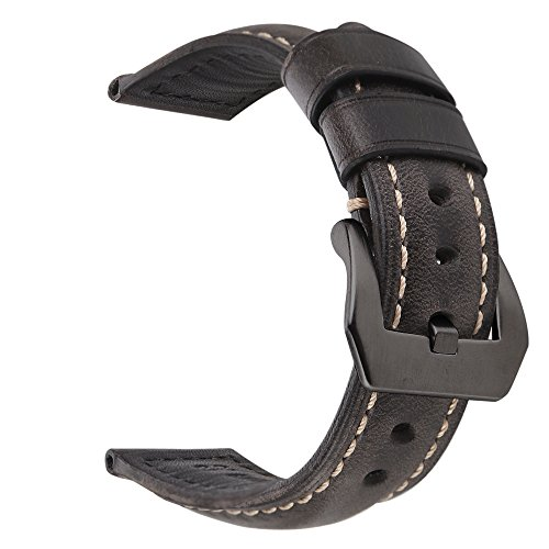 EACHE 24mm Genuine Leather Watch Band Black-Grey Oil-Tanned Natural Crack Leather Wrist Straps with Black Buckle - Game Day Steel Band Watch