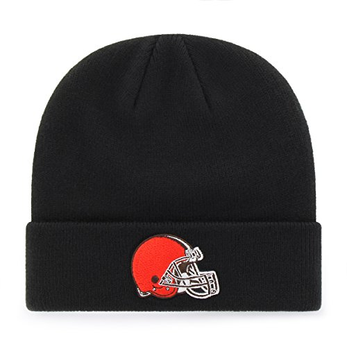 NFL Cleveland Browns OTS Raised Cuff Knit Cap, Black, One (Cleveland Browns Cap)