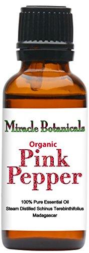 Miracle Botanicals Organic Pink Pepper Essential Oil - 100% Pure Schinus Terebinthifolius - Therapeutic Grade - 30ml by Miracle Botanicals