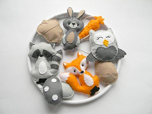 Woodland nursery mobile, Baby Crib Mobile, Felt Animals Baby Mobile, Forest animal mobile, Fox owl raccon bunny mobile, forest friends