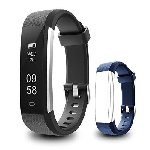 Fitness Tracker, Coffea C2 Activity Wristband : Bluetooth Wireless Smart Bracelet, Waterproof Pedometer Activity Tracker Watch with Replacement Band for IOS & Android Smartphone (Blue+Black strap)
