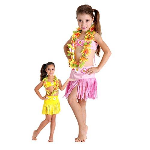 Fantasia Havaiana Floral Infantil Sulamericana Fantasias Rosa M 6/8 Anos