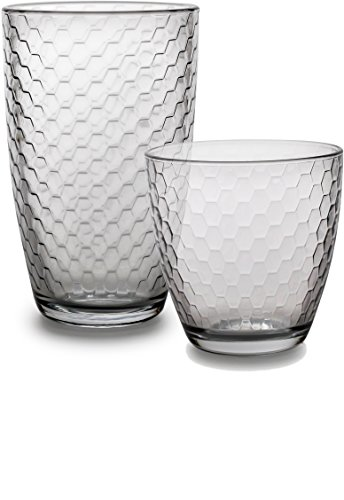 Circleware Hive Huge Set of 12 Drinking Glasses, 6-16oz and 6-13oz Double Old Fashioned Whiskey Glass