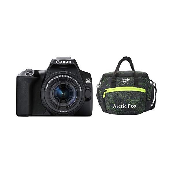 RetinaPix Canon EOS 200D II 24.1MP Digital SLR Camera + EF-S 18-55mm f4 is STM Lens (Black) + Arctic Fox Sling Shutter Topography Camera Bag