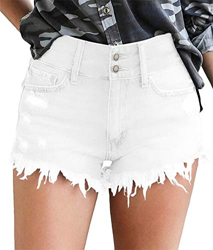 onlypuff Denim Hot Shorts for Women Casual Summer Mid Waisted Short Pants with Pockets