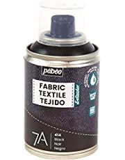 Pébéo - Fabric Paint Spray for Textiles 7A Spray - Natural and synthetic fabrics - Water-based - Solvent-free - Permanent Fabric Dye Machine-Washable - Spray Paint for textile design - 100ml - Black