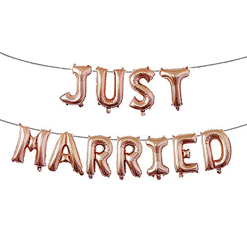 Just Married Foil Balloons Romantic JUST Married Letter Mylar Balloon for Wedding Bridal Shower Engagement Propose Marriage Decorations, 16 Inch(Rose Gold)