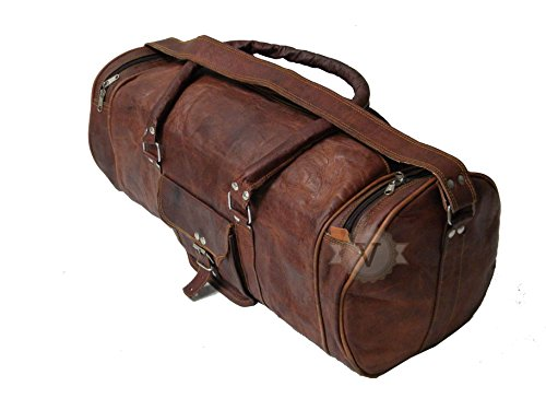 Handolederco 26'' GENUINE LEATHER HANDMADE DUFFEL BAG/TRAVEL; CABIN. GYM SHOULDER CUM CROSSBODY SPORTS LUGGAGE BAG by handolederco
