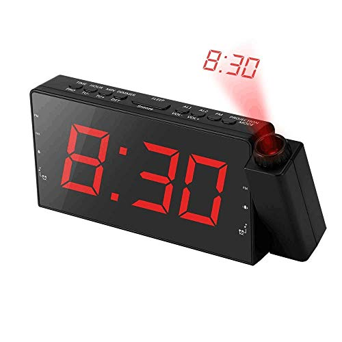 Alarm Clock Projection on Ceiling, FM Radio Wall Clock, 7LED Digital Desk/Shelf Clock with Dimmer, USB Charging Port, Battery Backup for Bedroom Kitchen Table Kids