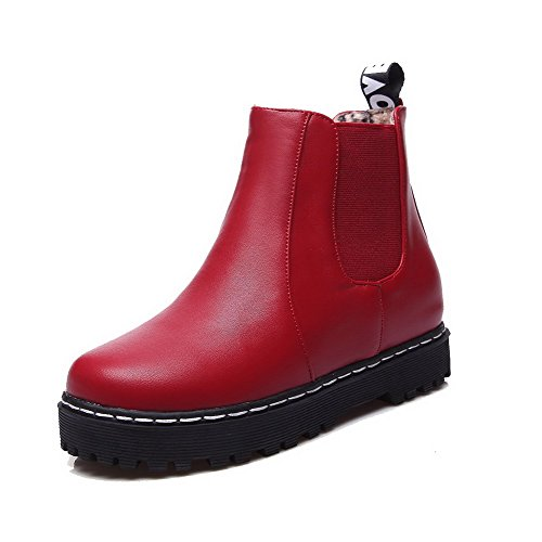 Women's Round Closed Toe Low-Top Low-Heels Solid Artificial Cow Leather Boots