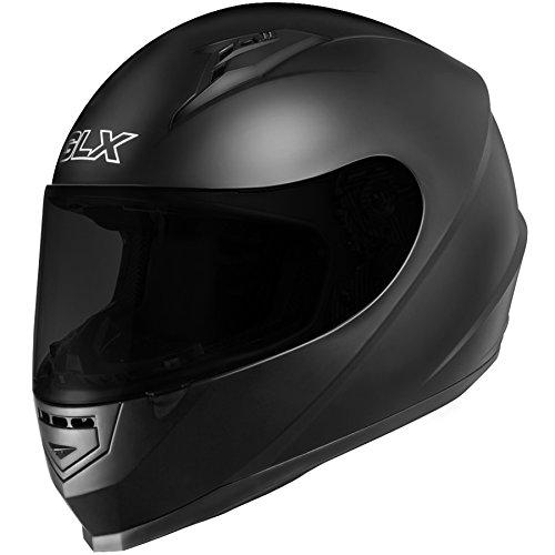 GLX Full Face Motorcycle Helmet Street Sport Bike DOT Approved + 2 Visors (M, Matte Black)