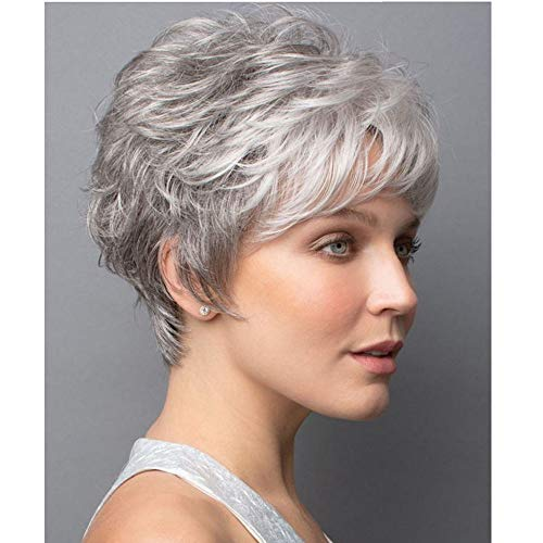 MILISI Short Gray Wigs for White Women Slightly Curly Wavy Hair Wigs Heat Resistant Synthetic Full Wigs for Daily Party with Free Wig Cap (Grey Mixed White) MLS041 -