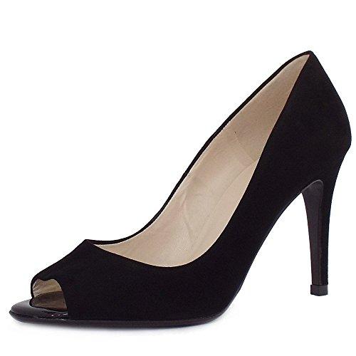 Peter Kaiser Anna Mujer Elegante Peep Toe Tacón Corte Zapatos Black Sued