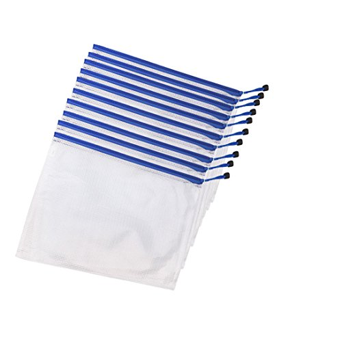 A4 Size PVC Waterproof Zippered Mesh File Bags, Zipper File Paper Document Folder Bags Storage Pouch (10 pcs White)