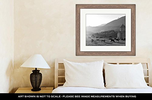 Ashley Framed Prints Cows Grazing at Sunset On Green Grass in The  Mountains, Wall Art Home Decoration, Black/White, 30x35 (Frame Size),  Rustic Barn