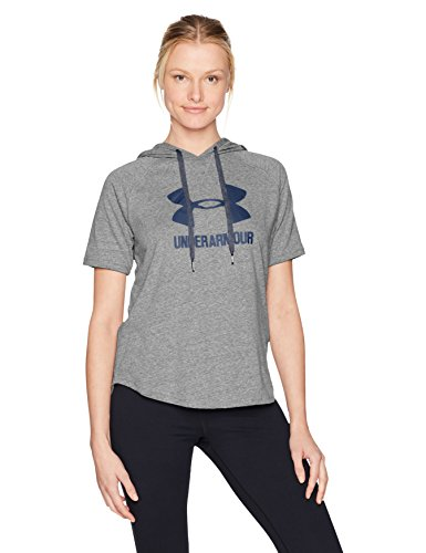 (Under Armour Women's Sportstyle Short Sleeve Hoodie, Charcoal (020)/Midnight Navy, Small)