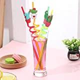 Wffo 4PCS Reusable Party Decoration Colorful Prickly Pear Cartoon Style Straw♚ for Milkshakes Frozen Drinks