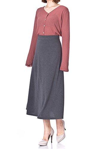 Plain Beauty Casual Office High Waist A-line Full Flared Swing Skater Maxi Long Skirt (L, Charcoal)