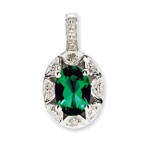 Icecarats Pendentif Émeraude Créatrice De Bijoux Diamant En Argent Sterling Créé