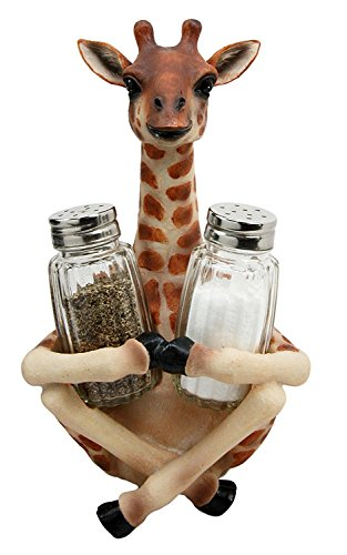 Ebros Gift Safari Adorable Giraffe Far Reach Salt And Pepper Shakers Holder Figurine With Glass Shakers Kitchen Dining Home Decor Sculpture Table Top Bar Centerpiece Figurine For Fans Of Giraffes