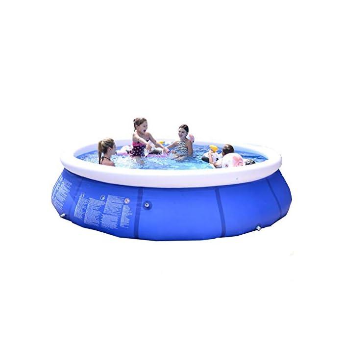 41YUM5nhRrL Fácil de instalar: nuestra piscina es fácil de instalar, y llene la piscina inflable con agua unos diez minutos. Diferentes capacidades: las piscinas de diferentes tamaños pueden contener diferentes números de personas, 6 pies x 29 pulgadas pueden contener 2 niños; 8 pies x 30 pulgadas pueden contener 3 niños; 10 pies x 30 pulgadas pueden contener 4 ~ 5 niños; 12 pies x 30 pulgadas pueden contener 5 ~ 6 niños. Por favor elige el tamaño que necesitas. Duradero: nuestras piscinas exteriores están hechas de una capa intermedia de PVC de protección ambiental de alta calidad, protección ambiental e inofensiva. Puede disfrutar de la piscina con su familia en el terreno plano del patio trasero.